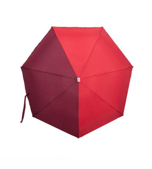 Parapluie pliant bicolore rouge bordeaux Anatole