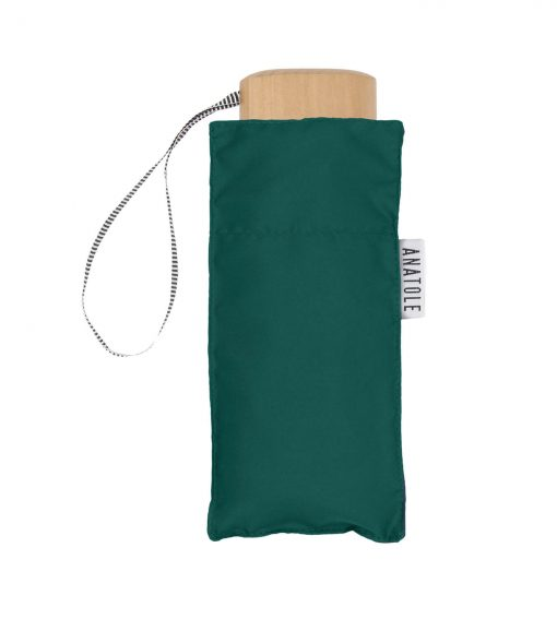 Green folding umbrella with its case - Anatole