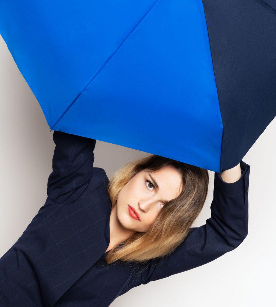 mini parapluie bicolore bleu - bleu nuit - Anatole