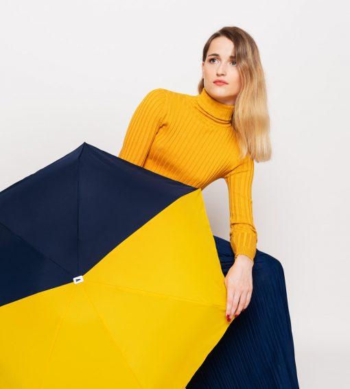 parapluie pliant bicolore bleu marine - jaune - Anatole