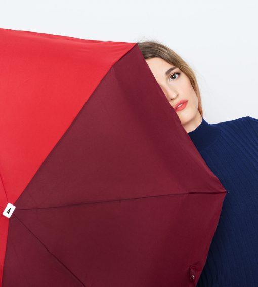 parapluie pliant bicolore bordeaux-rouge Anatole