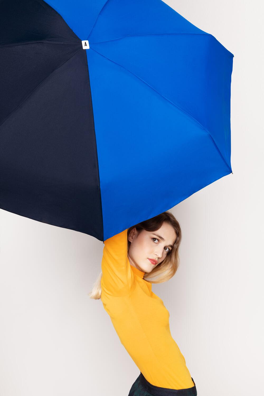 Mini parapluie bicolore bleu Anatole