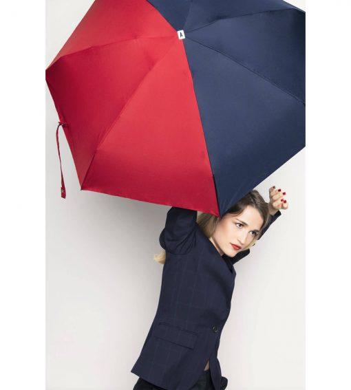 parapluie pliant bicolore bleu nuit-rouge Anatole