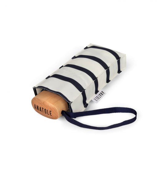 Navy striped mini-umbrella in its case - HENRI - Anatole foldable umbrella