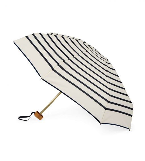 Striped open umbrella with navy blue stripes - HENRI - Anatole foldable umbrella