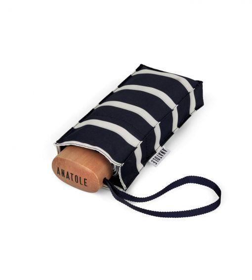 Striped navy mini-umbrella in its case - PABLO - Anatole foldable umbrella