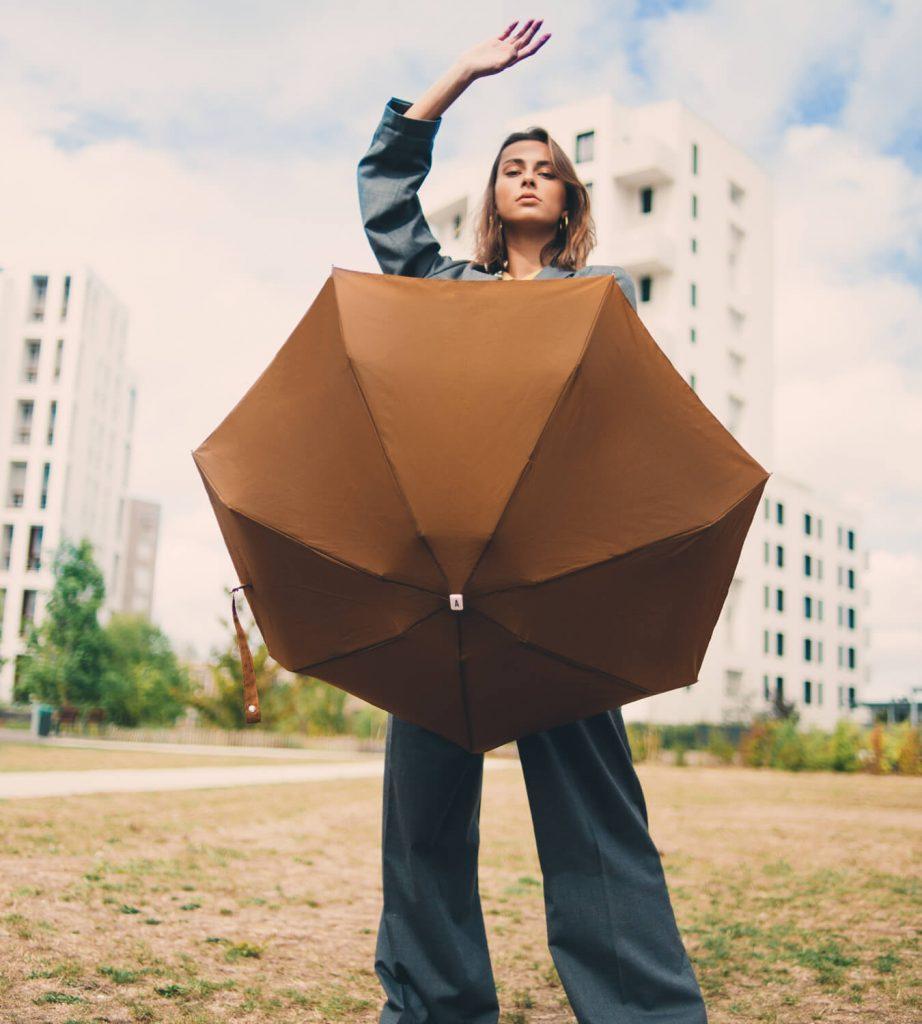 Parapluie femme marron caramel Anatole - Augustine