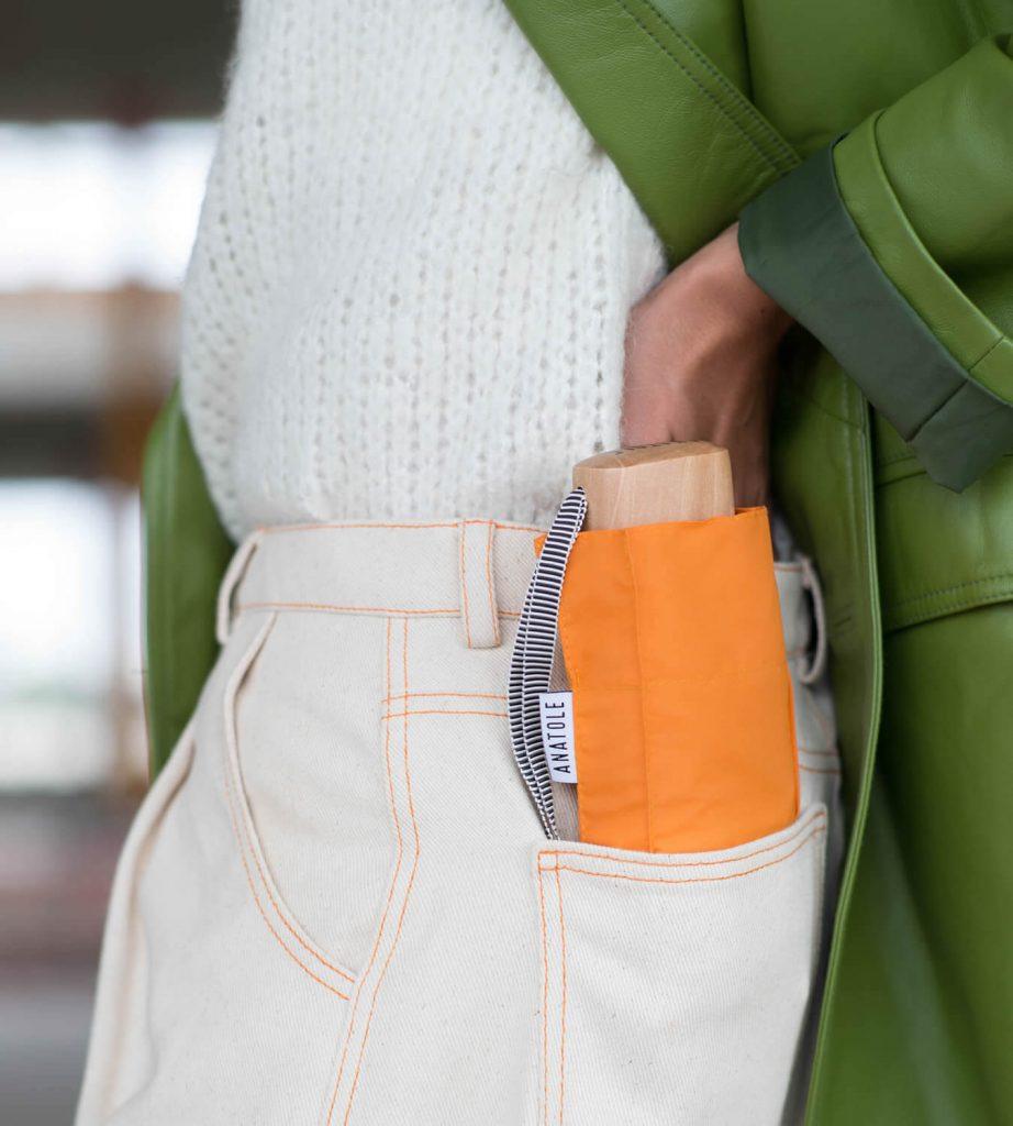 Parapluie femme orange dans poche - Anatole